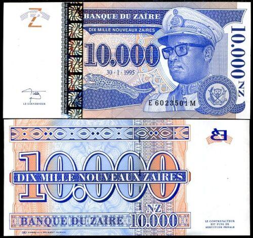 ZAIRE 10,000 10000 NOUVEAUX 1995 P 70 UNC