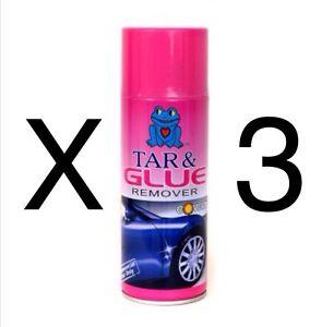 3 x tar and glue car sticker tar glue adhesive remover professional aerosol. Black Bedroom Furniture Sets. Home Design Ideas