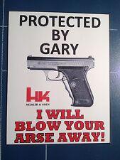 Guns: Novelty Heckler & Koch WARNING STICKER, Any Gun/name