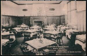 MERIDIAN-MS-Weidmann-039-s-Restaurant-Vintage-B-amp-W-Artvue-Postcard-Old-Mississippi-PC