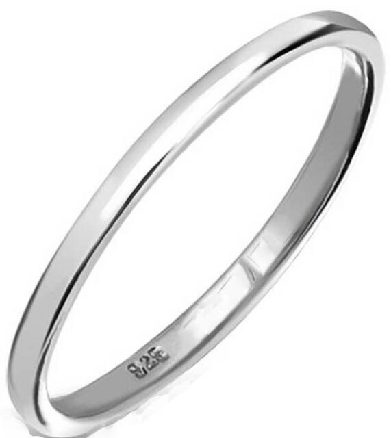 925 SOLID Sterling Silver 2 mm D Wedding Band, Thumb, Midi or Stacking Ring H-Z