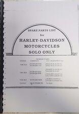 HARLEY DAVIDSON SOLO 1940 - 1942 WLA PARTS MANUAL REPRINTED A4
