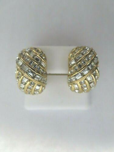 VTG Christian Dior Crystal Baguette Gold Tone Hal… - image 1