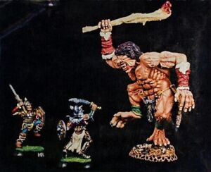 Andrea Miniatures 3d Fantasy F-005 - Cyclop And Warriors - 54mm Metal Kit Raro