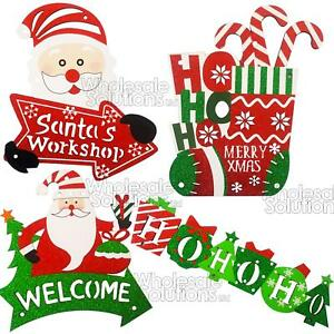 Buon Natale Glitter.Merry Christmas Santa Plaques Glitter Hanging Xmas Door Window