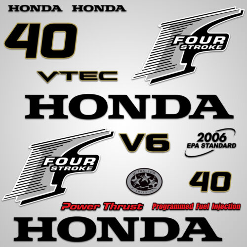 Outboard Engine Graphics Kit Sticker Decal for Honda 40 hp Silver