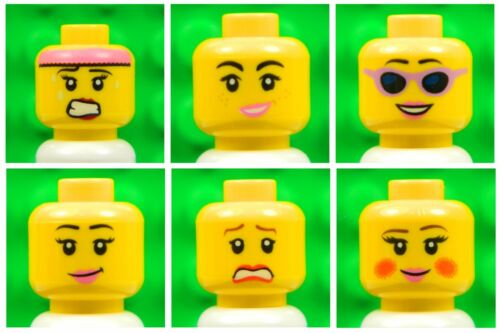 x6 for minifigures girl woman smile lips # NEW # 6p3 Lego Female Yellow HEADS