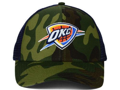 Oklahoma City Thunder Adidas NBA Camo and Navy Trucker Snapback Hat Sun Cap  OSFA 7dadb58a2