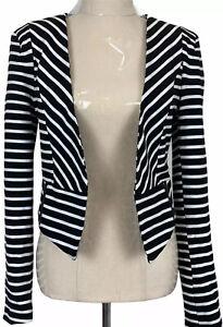Portmans Womens Black/White Striped Long Sleeve Lined Bolero Jacket Size 8