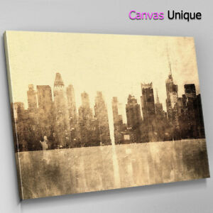 SC324-Old-New-York-Faded-Scenic-Wall-Art-Picture-Large-Canvas-Print