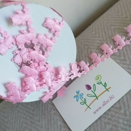 PINK LIGHTLY QUILTED IVORY BLUE WHITE TEDDY BEAR 22mm BRAID RIBBON BABY