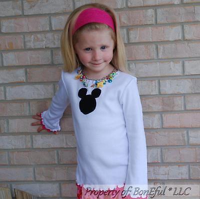 BonEful RTS NEW Boutique Girl 5 6X Top Shirt Disney Mickey Mouse Vacation Ruffle