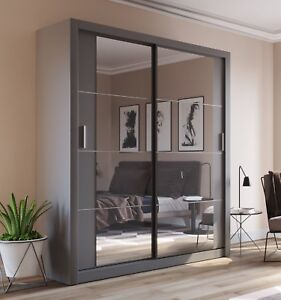 Image Is Loading Brand New Modern Bedroom Sliding Door Mirror Wardrobe