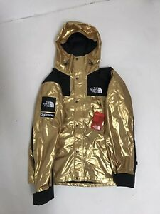 Supreme x TNF North Face Mountain Parka Metallic Gold Jacket Coat ... c11896943