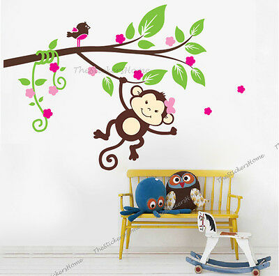Cheeky Monkey Blossom Tree Wall Stickers Art Decal Girls Nursery Bedroom Decor