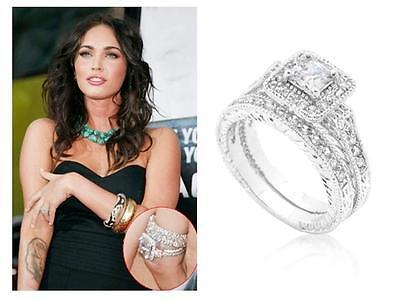 3.9 Ct CZ Art Deco Filigree Princess Pave Wedding Engagement Ring Set~Size 6