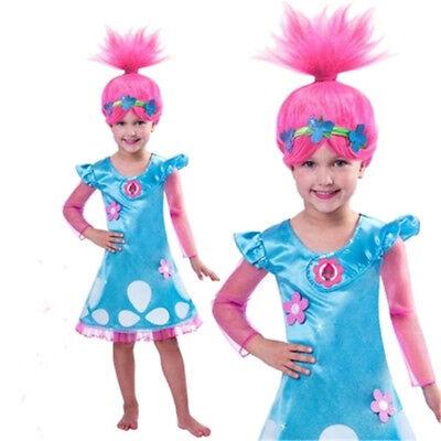 Pink Wig with Garland COS Troll Dolls Poppy Troll Town Princess Cosplay