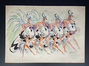 Painting by Armando Oliva Robain ¨Costume Design¨. Original signed by the artist