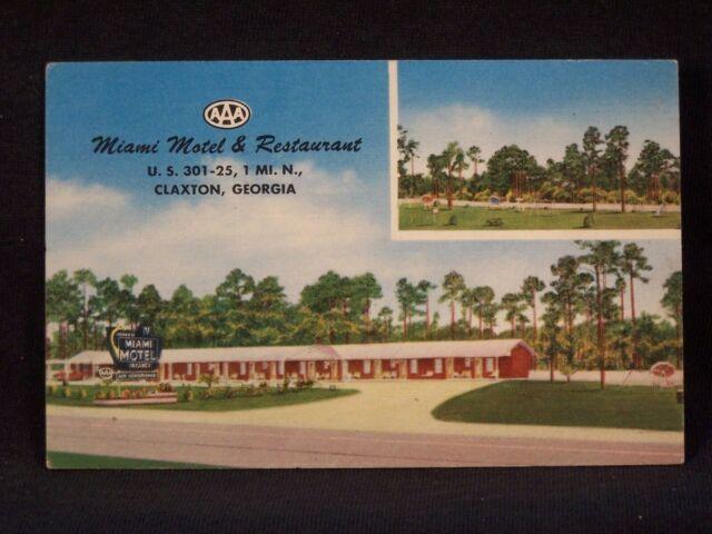 GA Claxton Miami Motel & Restaurant 1957 Postcard