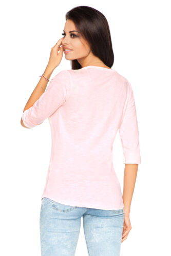 Womens Casual Top With Pocket 3//4 Sleeve Crew Neck T-Shirt Size 8-12 FT1940