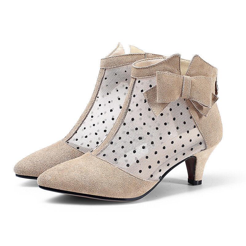 Spitze Damen Stilettos Ankle Stiefel Faux-Wildleder Sommer Bowknot Elegant Stiefel Stiefel Elegant bb84fb