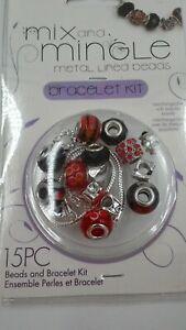 Darice Mix & Mingle Love Bracelet Kit Metal Lined Beads  Starter Kit