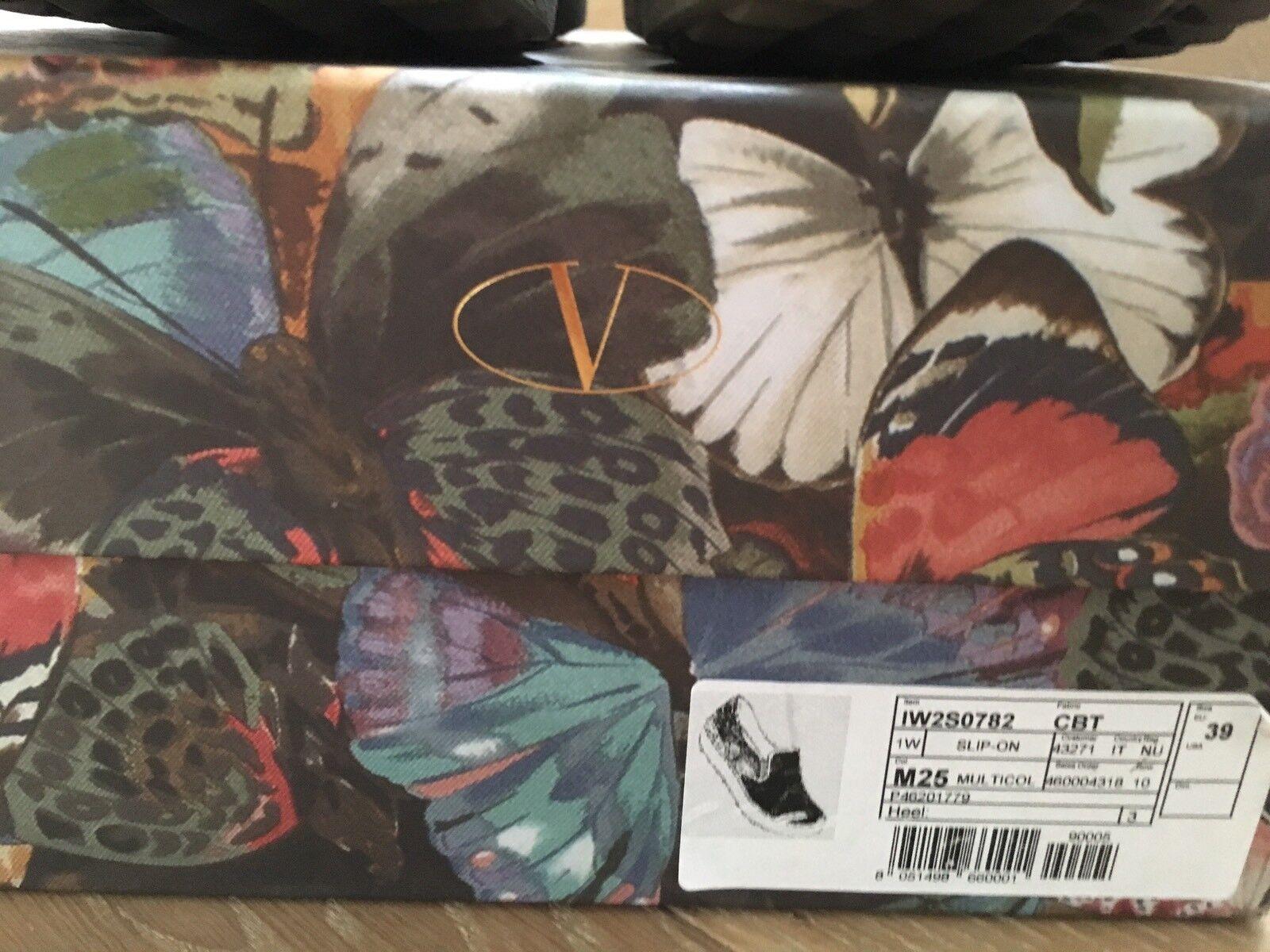 Original Valentino Turnschuhe Schuhe Slip on 39 oliv bunt Butterfly Karton