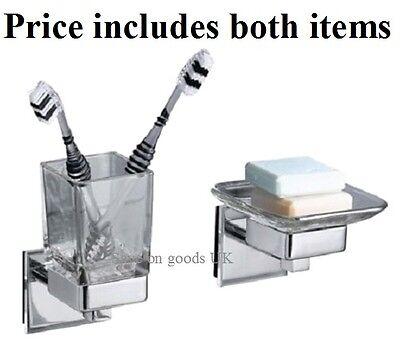 Silver finish,glass bathroom soap dish & toothbrush tumbler beaker & holder