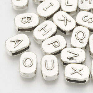 50 Letter Beads Alphabet Beads Metallic Bulk Beads Wholesale 7mm  Assorted Lot