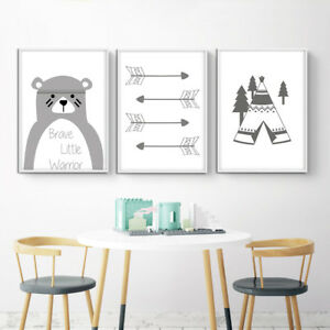 Tribe Bear Arrow Canvas Nursery Wall Art Poster Print ...