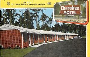 Waycross-Georgia-Brick-Construction-Cherokee-Motel-1940s-Postcard