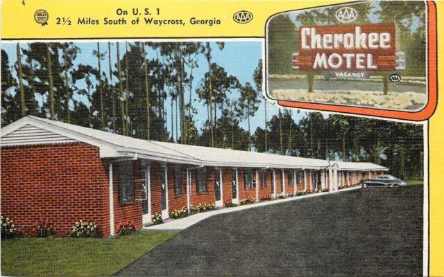 Waycross Georgia~Brick Construction Cherokee Motel~1940s Postcard