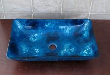 Bathroom Art Rectangular Glass Vessel Vanity Sink RE9023 with free pop up drain