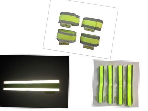 Set of 4 high visibility reflective hook and loop safety bands running,walking