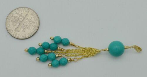 14K Solide Or Jaune 5 Strand Pendantes Naturel Turquoise Pendentif