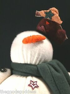 SNOWMAN-Bigfoot-Standing-Doll-Center-Street-cowboy-bird-1999-handmade-winter
