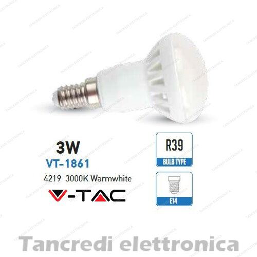 Lampadina led V-TAC 3W = 25W E14 bianco caldo 3000K VT-1861 R39 faretto spot