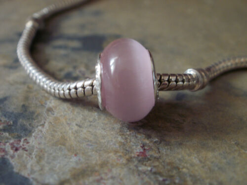 Edler Glas Bead Element Farbe Rosa Silber für Armband 0733