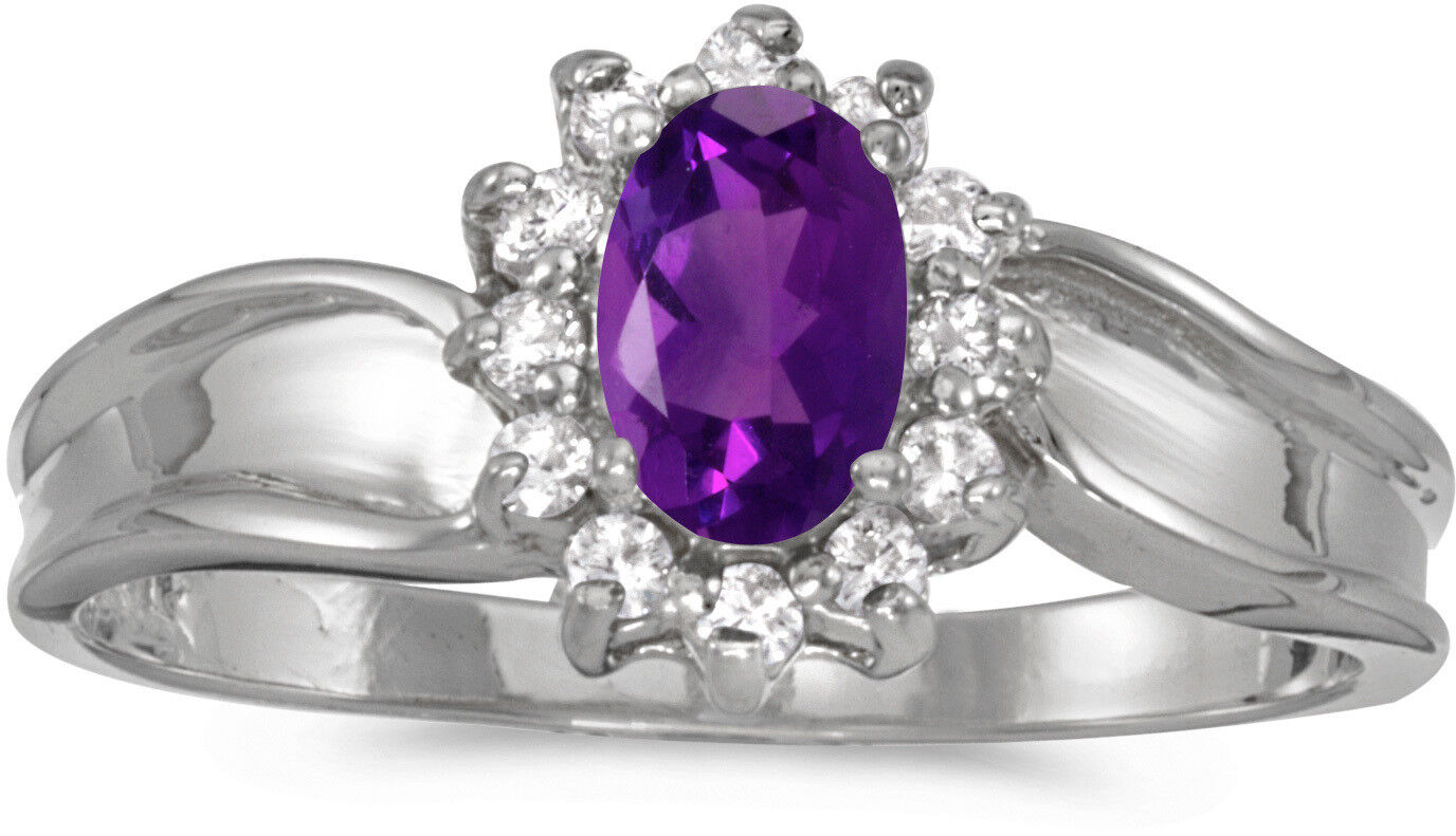 14k White gold Oval Amethyst And Diamond Ring (CM-RM804XW-02)