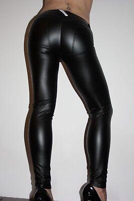 Lederhose Leder Leggings Kunstleder Hose Schwarz Gr S low waist Freddy WR.UP