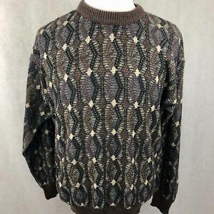 Vintage-Jantzen-Pulli-Pullover-Grosse-Herren-braun-beige-schwarz-Bill-Cosby-Grobstrick