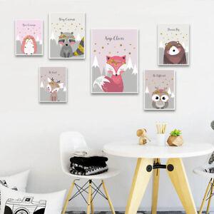 Woodland-Animal-Picture-Owl-Fox-Nursery-Children-Poster-Canvas-Wall-Art-Print
