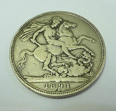 1891 QUEEN VICTORIA BRITISH SILVER CROWN COIN