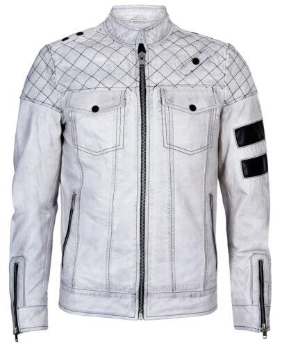 Homme Blanc Vintage Rétro Casual Zippé 100/% cuir matelassé Racing Veste de motard