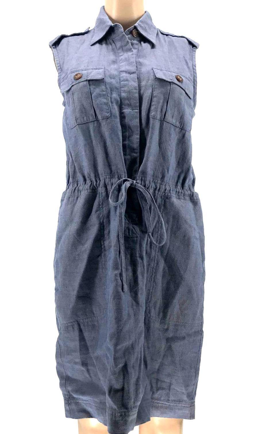 $139 Rachel Roy Womens Blue Sleeveless Point Collar Button Down Tie Dress Size S
