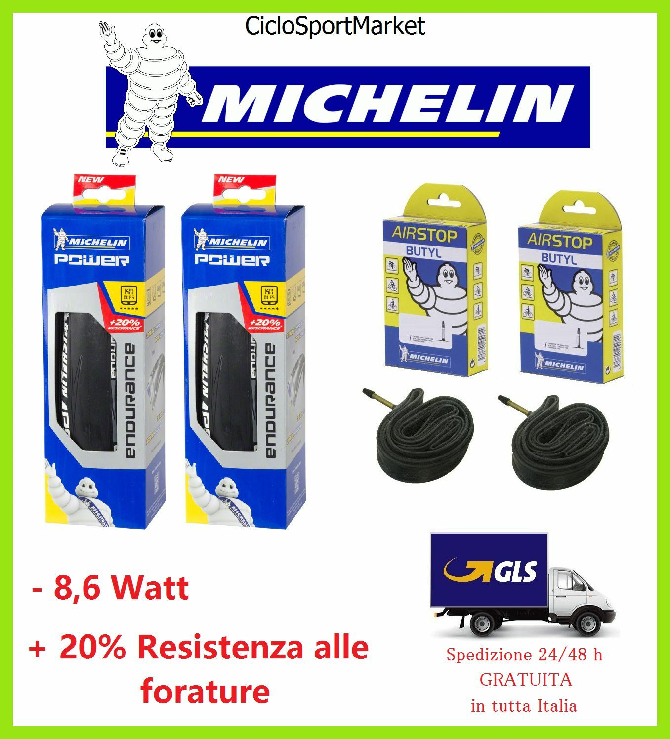 2 bike  tyre michelin power endurance 700 x 23 25 + inner tubes gift  fashion