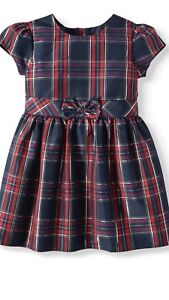 Little Bitty boutique Holiday Christmas girl/'s dress red plaid taffeta NEW $65