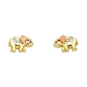 Ladies-Real-14k-Yellow-Rose-Gold-CZ-Heart-Elephant-Earrings-Stud