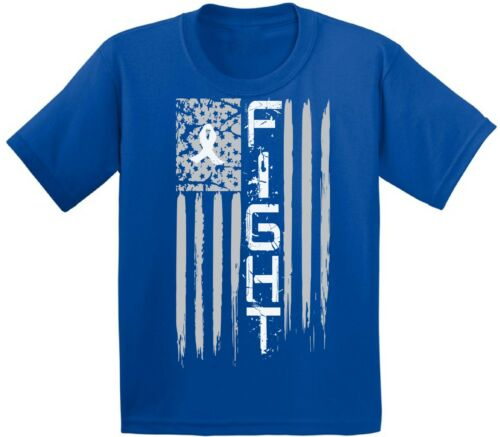 Lung Cancer T shirts Kids Tees Tops Fight Youth Distressed USA Flag