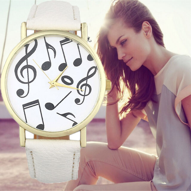 Casual Musical Notes Women Mens Watch Leather Band Analog Quartz Wristwatch Часы